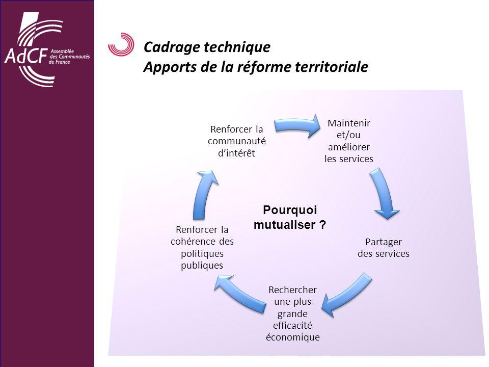 Cadrage technique Apports de la réforme territoriale Maintenir et/ou améliorer les services Partager des services Rechercher une plus grande efficacit