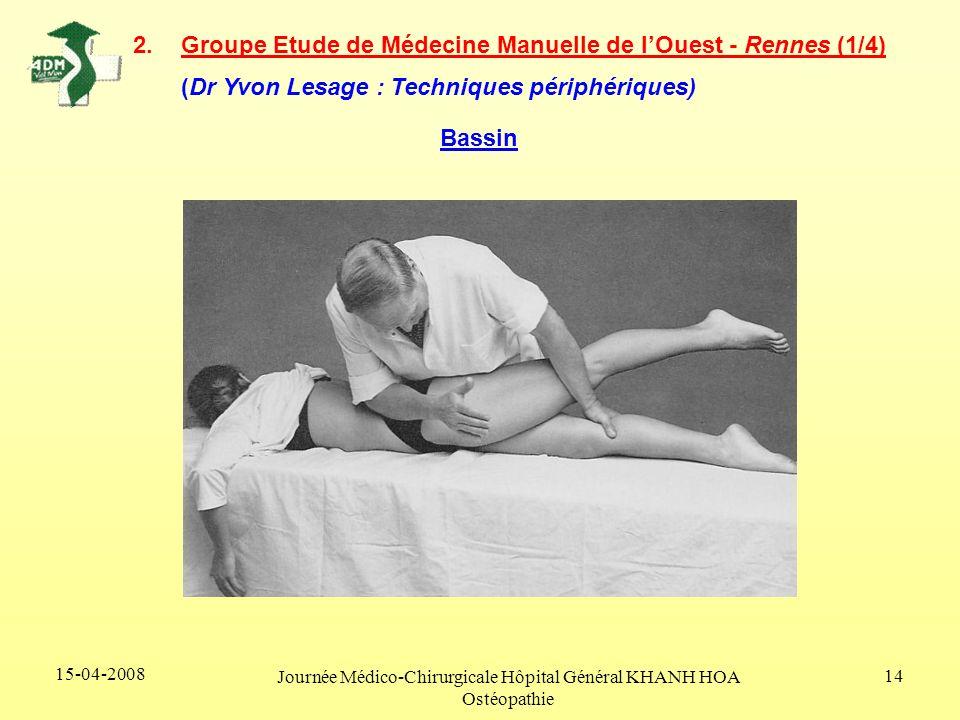 15-04-2008 Journée Médico-Chirurgicale Hôpital Général KHANH HOA Ostéopathie 14 2.Groupe Etude de Médecine Manuelle de lOuest - Rennes (1/4) (Dr Yvon