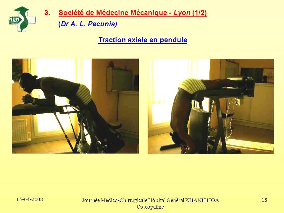 15-04-2008 Journée Médico-Chirurgicale Hôpital Général KHANH HOA Ostéopathie 18 3.Société de Médecine Mécanique - Lyon (1/2) (Dr A. L. Pecunia) Tracti