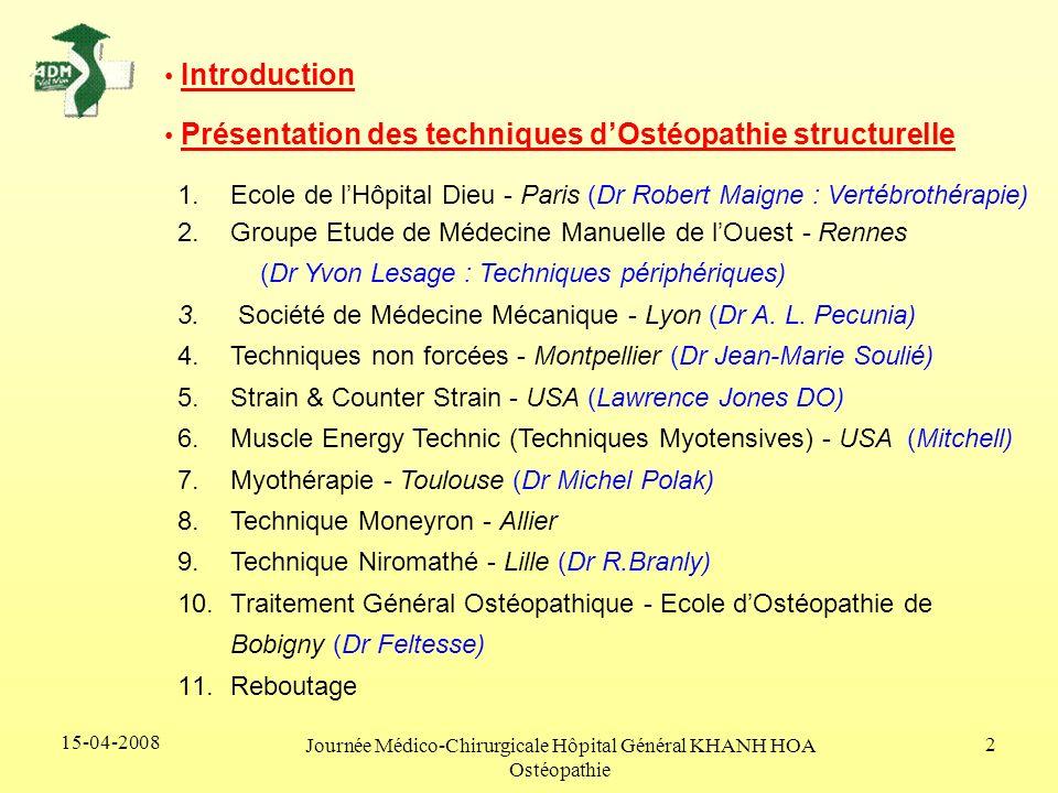 15-04-2008 Journée Médico-Chirurgicale Hôpital Général KHANH HOA Ostéopathie 2 1.Ecole de lHôpital Dieu - Paris (Dr Robert Maigne : Vertébrothérapie)