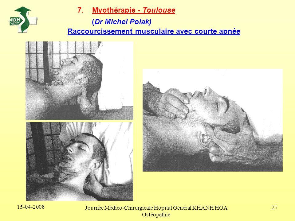 15-04-2008 Journée Médico-Chirurgicale Hôpital Général KHANH HOA Ostéopathie 27 7.Myothérapie - Toulouse (Dr Michel Polak) Raccourcissement musculaire