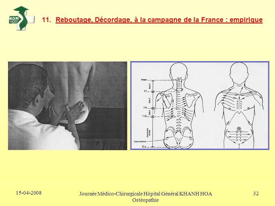 15-04-2008 Journée Médico-Chirurgicale Hôpital Général KHANH HOA Ostéopathie 32 11.Reboutage, Décordage, à la campagne de la France : empirique