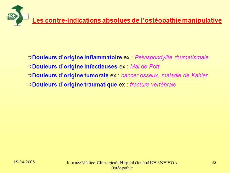 15-04-2008 Journée Médico-Chirurgicale Hôpital Général KHANH HOA Ostéopathie 33 Les contre-indications absolues de lostéopathie manipulative Douleurs
