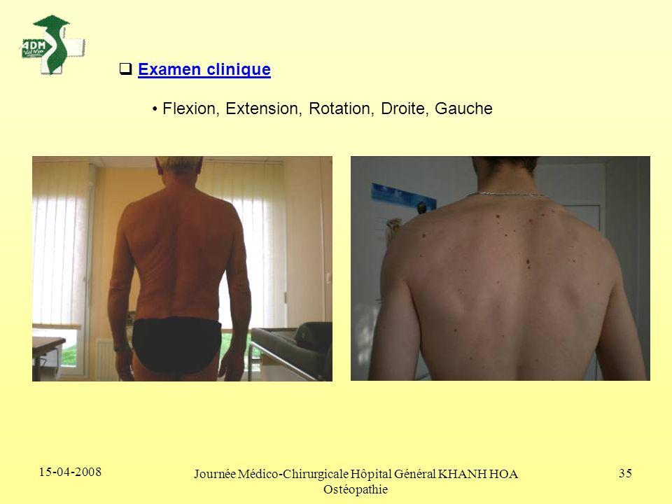 15-04-2008 Journée Médico-Chirurgicale Hôpital Général KHANH HOA Ostéopathie 35 Examen clinique Flexion, Extension, Rotation, Droite, Gauche