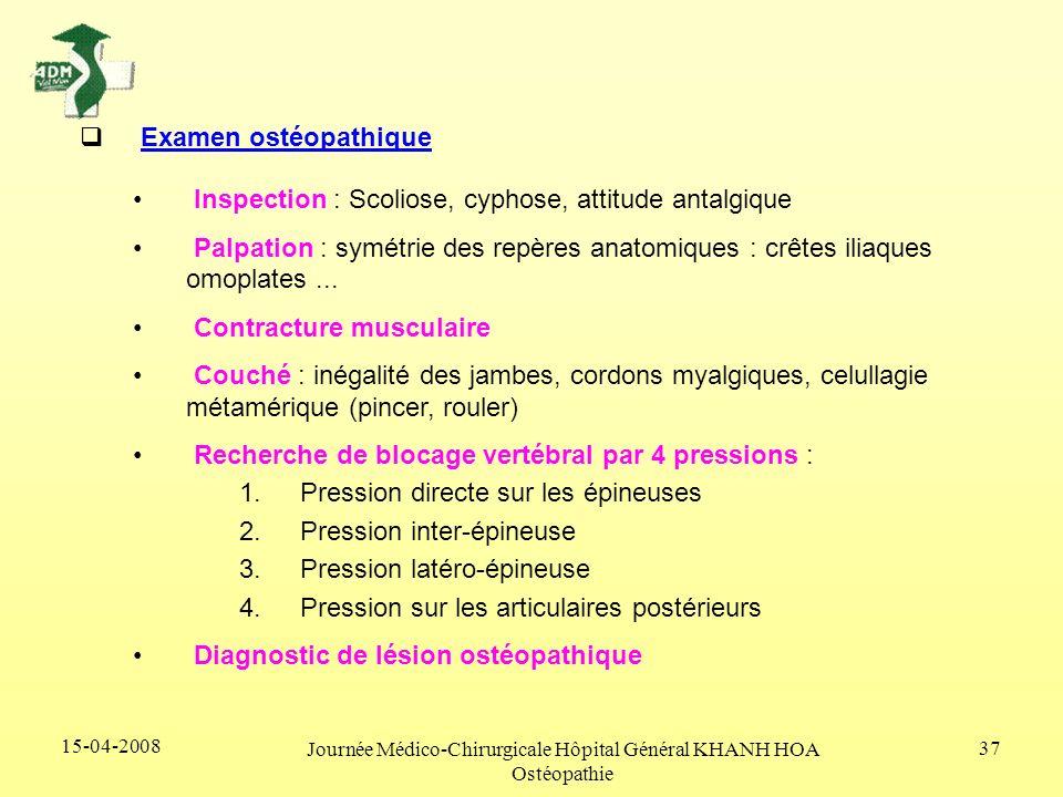 15-04-2008 Journée Médico-Chirurgicale Hôpital Général KHANH HOA Ostéopathie 37 Examen ostéopathique Inspection : Scoliose, cyphose, attitude antalgiq