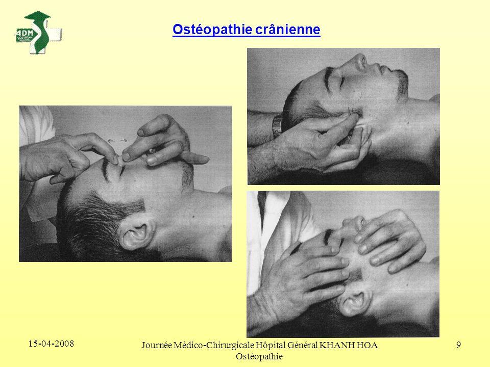 15-04-2008 Journée Médico-Chirurgicale Hôpital Général KHANH HOA Ostéopathie 9 Ostéopathie crânienne