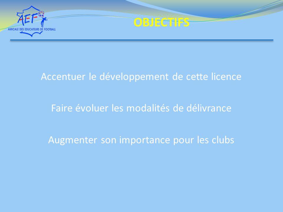 Accentuer le développement de cette licence Faire évoluer les modalités de délivrance Augmenter son importance pour les clubs OBJECTIFS
