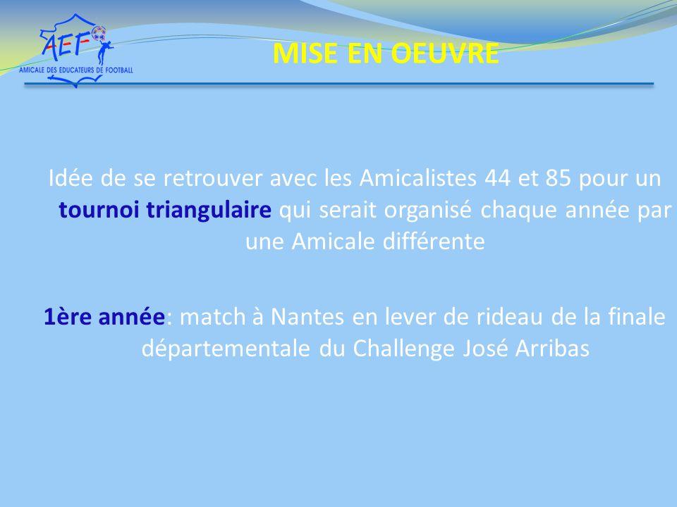 Idée de se retrouver avec les Amicalistes 44 et 85 pour un tournoi triangulaire qui serait organisé chaque année par une Amicale différente 1ère année: match à Nantes en lever de rideau de la finale départementale du Challenge José Arribas MISE EN OEUVRE