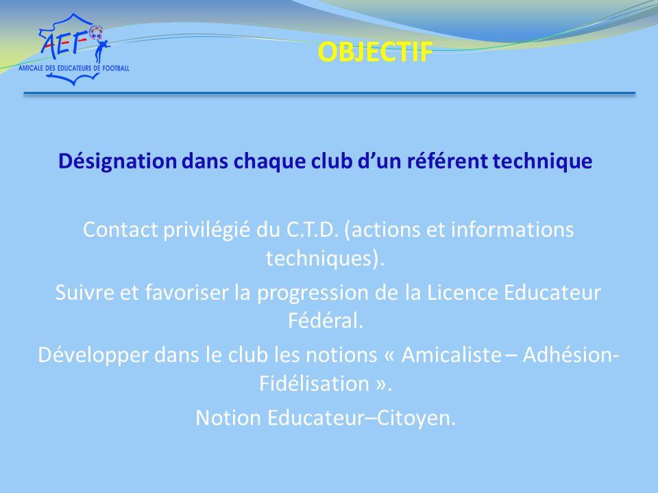 Désignation dans chaque club dun référent technique Contact privilégié du C.T.D. (actions et informations techniques). Suivre et favoriser la progress