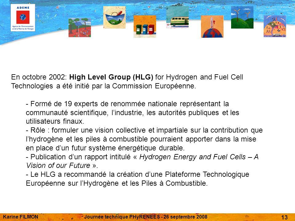 Karine FILMONJournée technique PHyRENEES - 26 septembre 2008 13 En octobre 2002: High Level Group (HLG) for Hydrogen and Fuel Cell Technologies a été initié par la Commission Européenne.