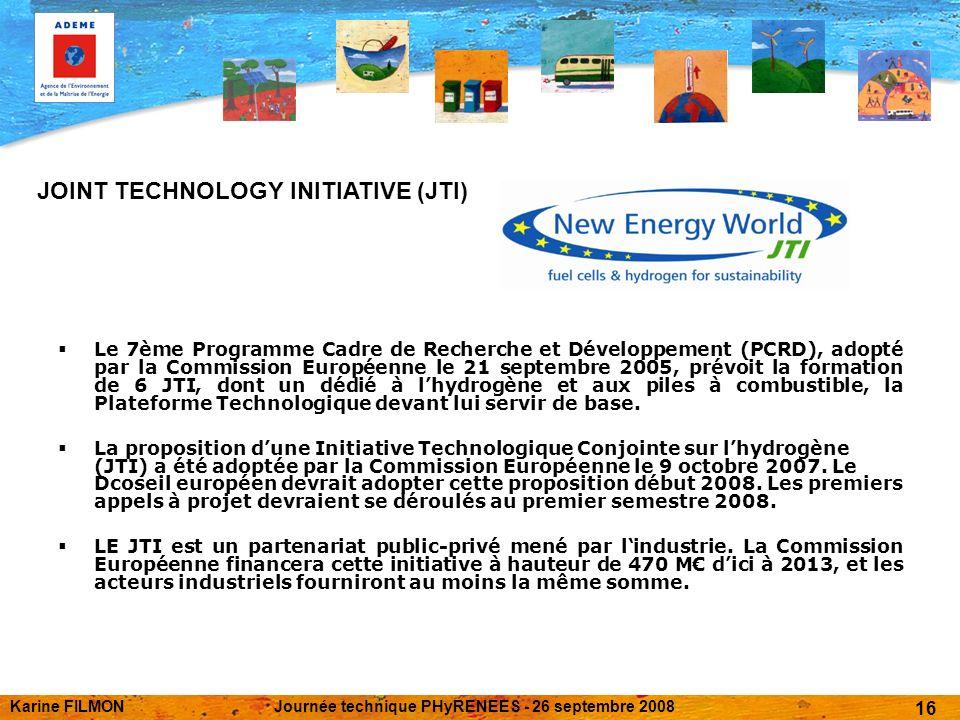 Karine FILMONJournée technique PHyRENEES - 26 septembre 2008 16 Le 7ème Programme Cadre de Recherche et Développement (PCRD), adopté par la Commission Européenne le 21 septembre 2005, prévoit la formation de 6 JTI, dont un dédié à lhydrogène et aux piles à combustible, la Plateforme Technologique devant lui servir de base.