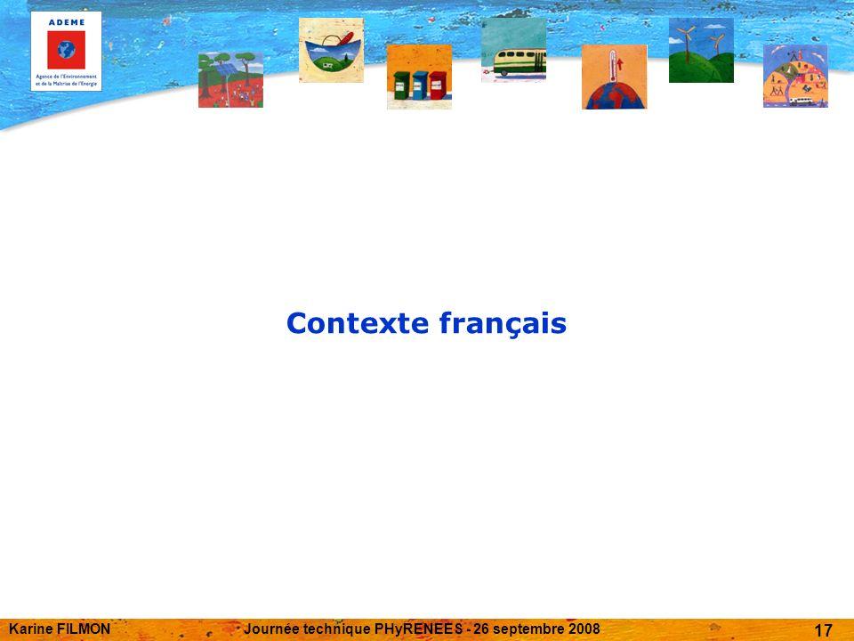 Karine FILMONJournée technique PHyRENEES - 26 septembre 2008 17 Contexte français