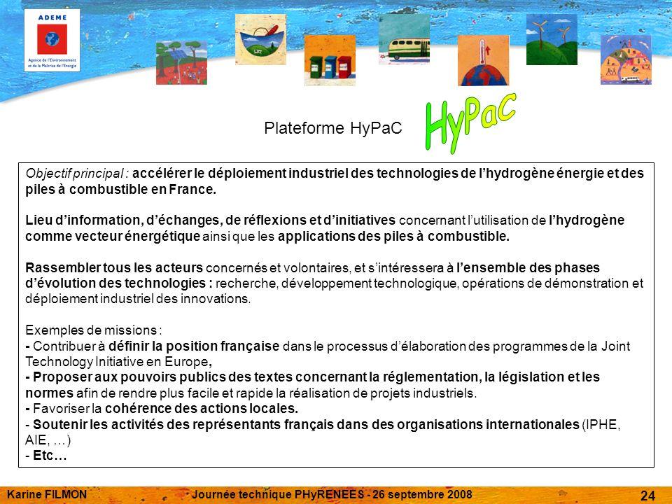 Karine FILMONJournée technique PHyRENEES - 26 septembre 2008 24 Plateforme HyPaC Objectif principal : accélérer le déploiement industriel des technologies de lhydrogène énergie et des piles à combustible en France.