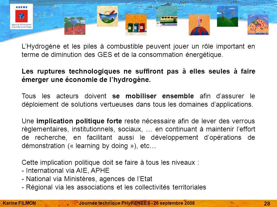 Karine FILMONJournée technique PHyRENEES - 26 septembre 2008 28 LHydrogène et les piles à combustible peuvent jouer un rôle important en terme de diminution des GES et de la consommation énergétique.