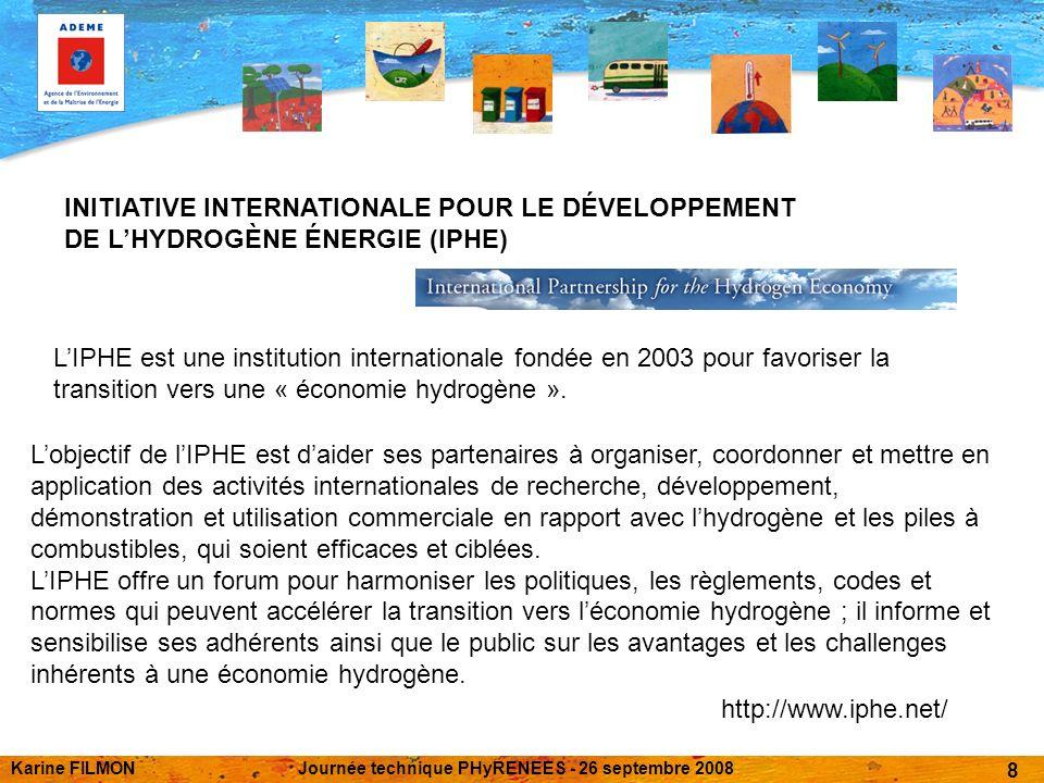 Karine FILMONJournée technique PHyRENEES - 26 septembre 2008 8 INITIATIVE INTERNATIONALE POUR LE DÉVELOPPEMENT DE LHYDROGÈNE ÉNERGIE (IPHE) LIPHE est une institution internationale fondée en 2003 pour favoriser la transition vers une « économie hydrogène ».