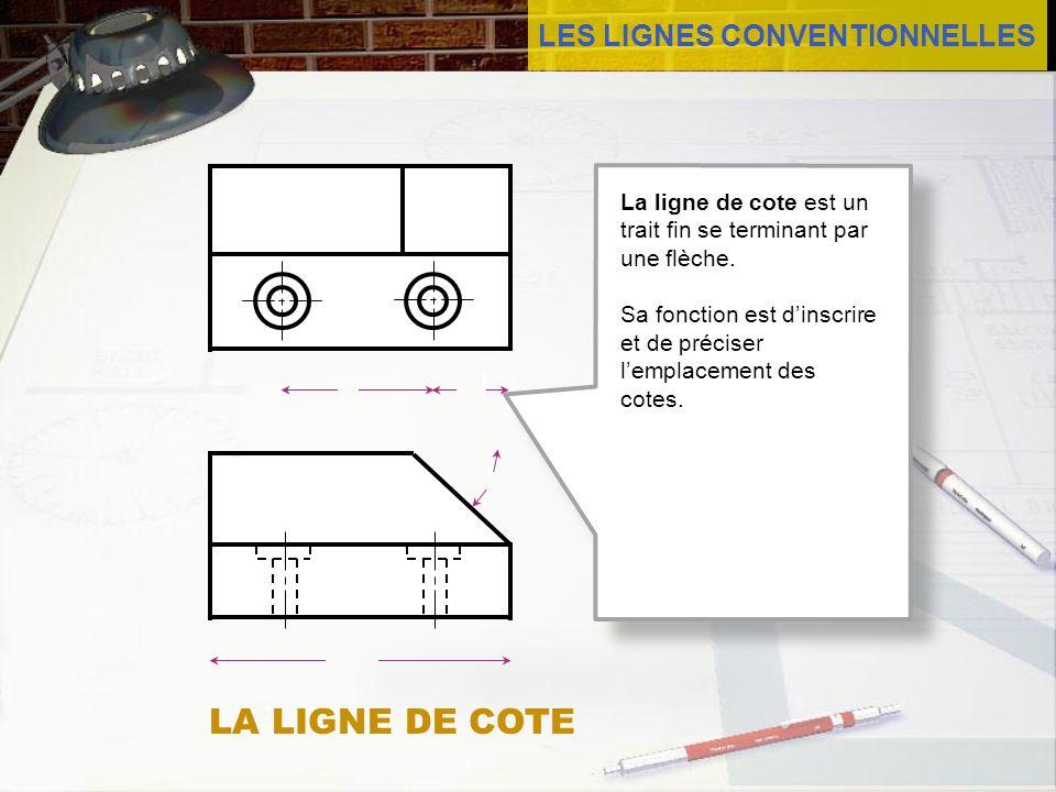 LES LIGNES CONVENTIONNELLES LA LIGNE DE COTE La ligne de cote est un trait fin se terminant par une flèche. Sa fonction est dinscrire et de préciser l
