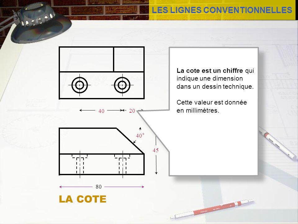 LES LIGNES CONVENTIONNELLES 45 80 40 20 40° La cote est un chiffre qui indique une dimension dans un dessin technique. Cette valeur est donnée en mill