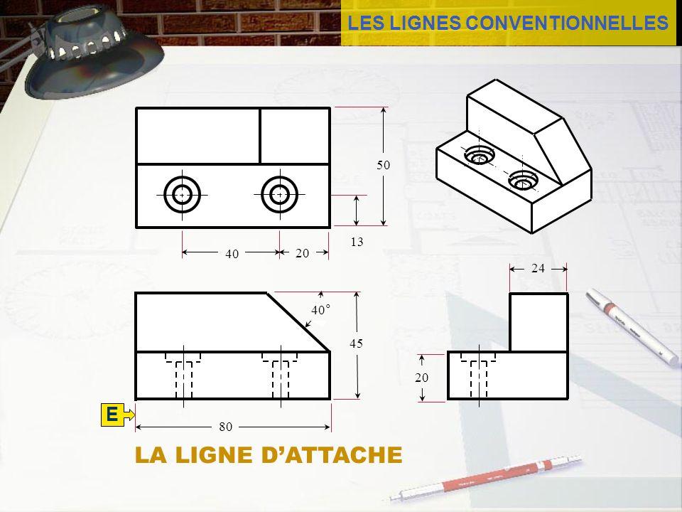 LES LIGNES CONVENTIONNELLES E 45 80 50 13 40 24 20 40° 20 LA LIGNE DATTACHE