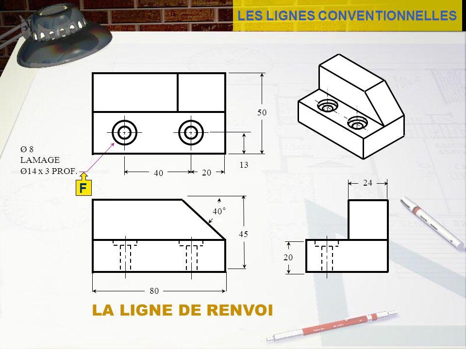 LES LIGNES CONVENTIONNELLES F Ø 8 LAMAGE Ø14 x 3 PROF. 13 40 24 20 40° 20 45 50 80 LA LIGNE DE RENVOI
