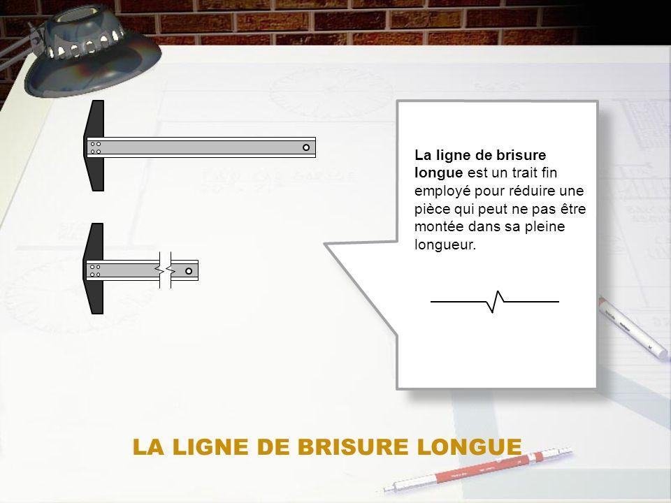 La ligne de brisure longue est un trait fin employé pour réduire une pièce qui peut ne pas être montée dans sa pleine longueur. LA LIGNE DE BRISURE LO
