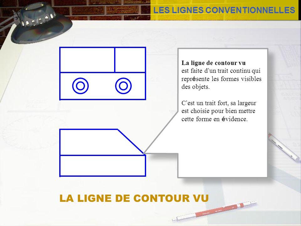 LES LIGNES CONVENTIONNELLES La ligne de contour vu est faite d un trait continu qui repr é sente les formes visibles des objets. C est un trait fort,