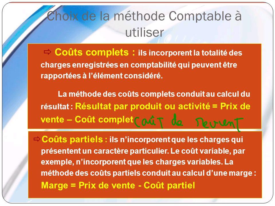 Choix de la méthode Comptable à utiliser Coûts complets : ils incorporent la totalité des charges enregistrées en comptabilité qui peuvent être rappor