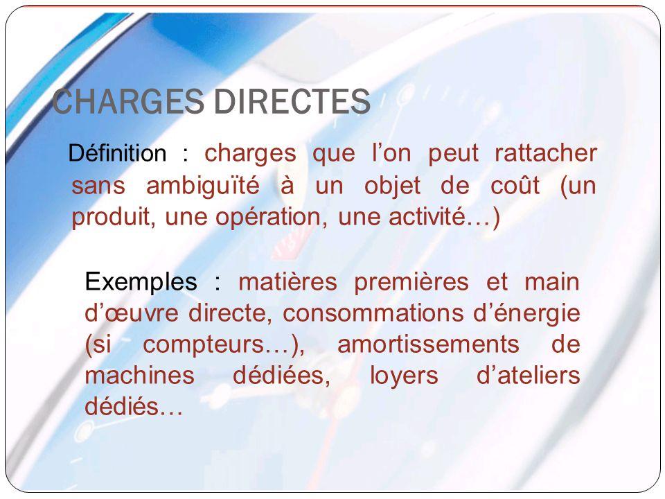 CHARGES DIRECTES Définition : charges que lon peut rattacher sans ambiguïté à un objet de coût (un produit, une opération, une activité…) Exemples : m