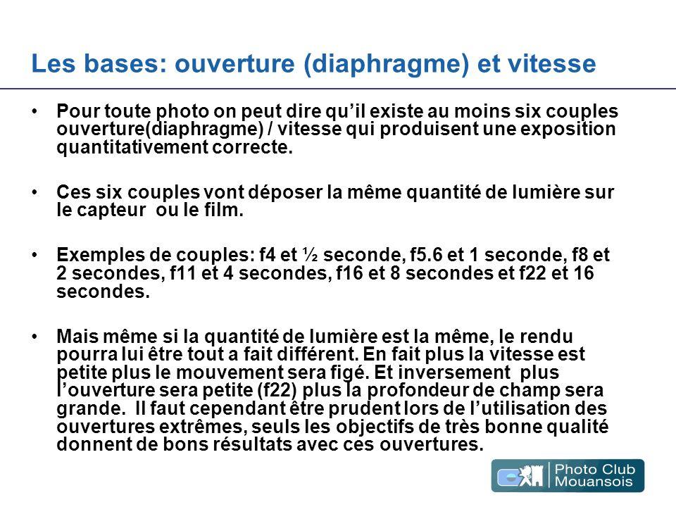 Les bases: ouverture (diaphragme) et vitesse Pour toute photo on peut dire quil existe au moins six couples ouverture(diaphragme) / vitesse qui produi