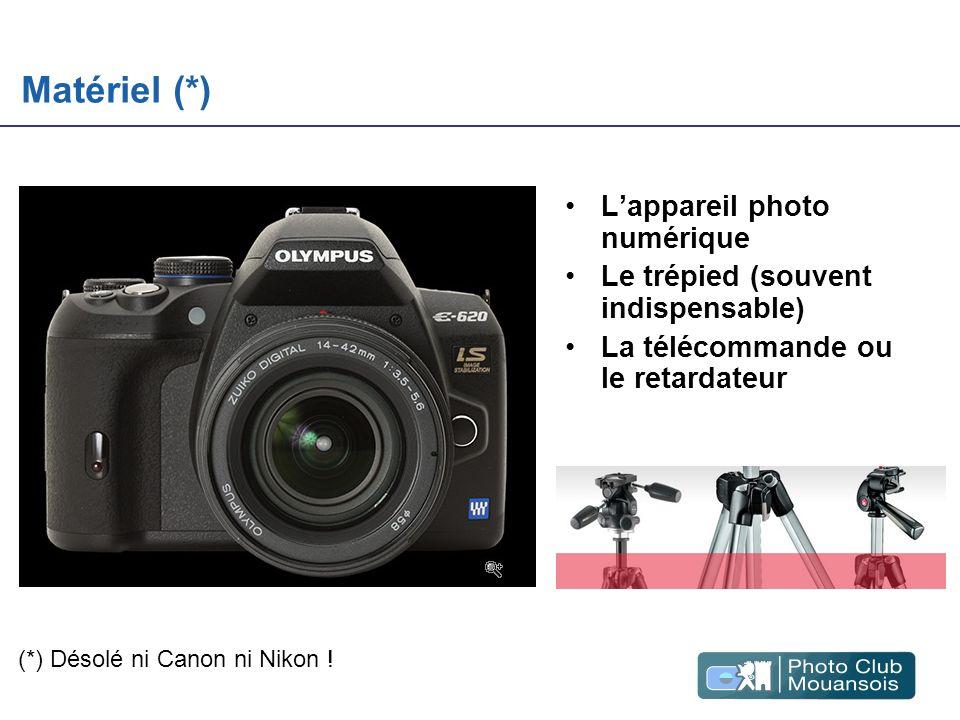 Matériel (*) Lappareil photo numérique Le trépied (souvent indispensable) La télécommande ou le retardateur (*) Désolé ni Canon ni Nikon !