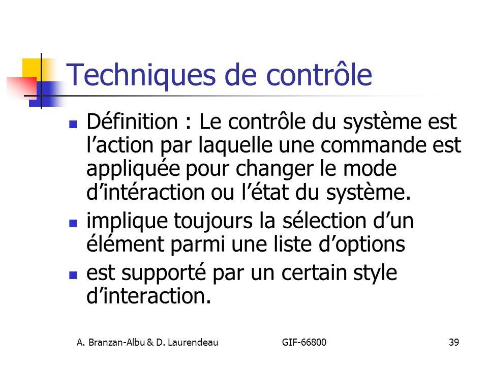 A. Branzan-Albu & D. Laurendeau GIF-66800 40 Categorisation Technique de contrôle - classification