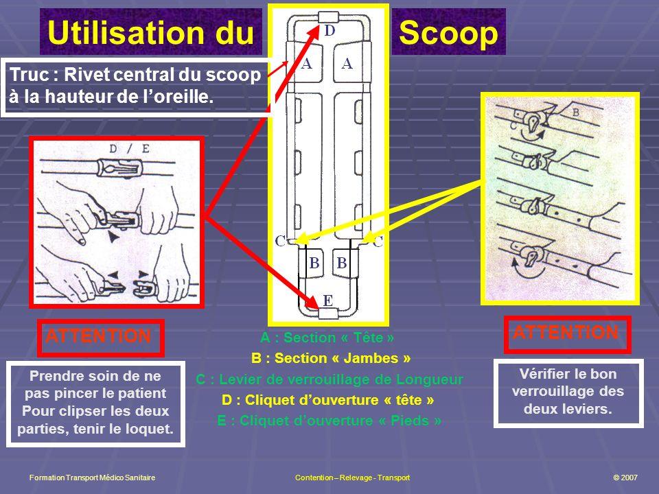 A : Section « Tête » B : Section « Jambes » C : Levier de verrouillage de Longueur D : Cliquet douverture « tête » E : Cliquet douverture « Pieds » Utilisation duScoop Truc : Rivet central du scoop à la hauteur de loreille.