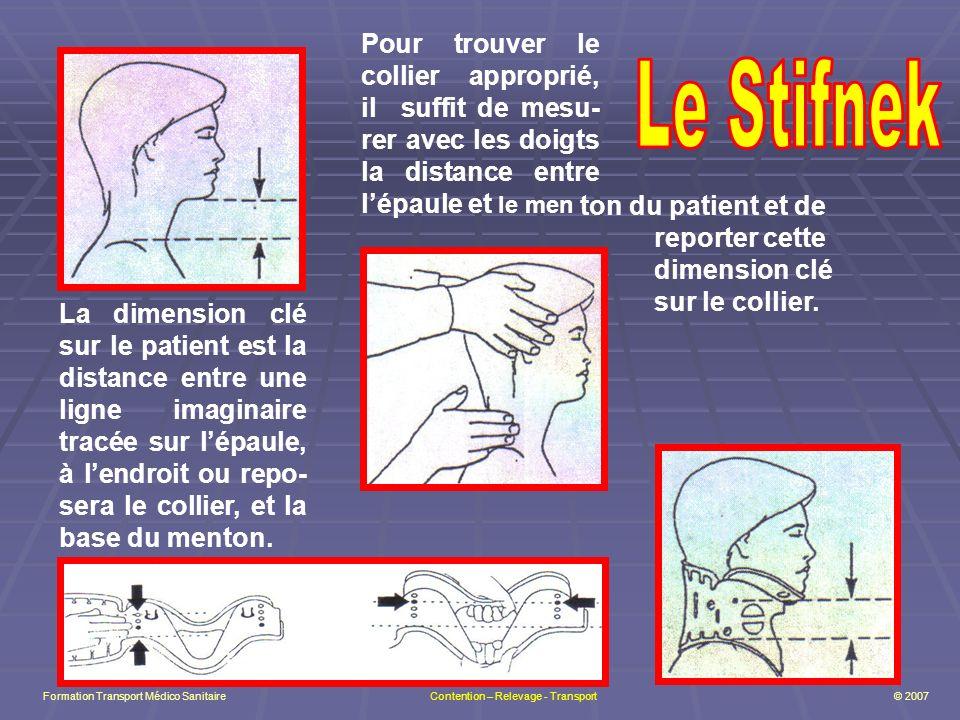 La dimension clé sur le patient est la distance entre une ligne imaginaire tracée sur lépaule, à lendroit ou repo- sera le collier, et la base du menton.