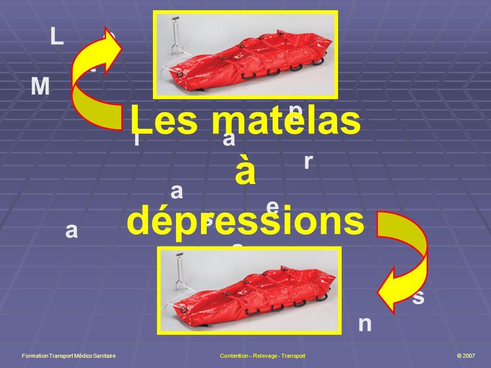 L e s M a t l s a à d é p r e s s i o n s Les matelas à dépressions Formation Transport Médico Sanitaire Contention – Relevage - Transport © 2007