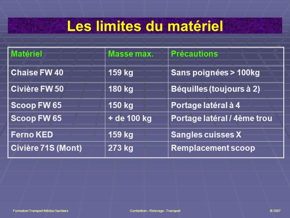 Les limites du matériel MatérielMasse max.Précautions Chaise FW 40159 kgSans poignées > 100kg Civière FW 50180 kgBéquilles (toujours à 2) Scoop FW 65150 kgPortage latéral à 4 Scoop FW 65+ de 100 kgPortage latéral / 4ème trou Ferno KED159 kgSangles cuisses X Civière 71S (Mont)273 kgRemplacement scoop Formation Transport Médico Sanitaire Contention – Relevage - Transport © 2007