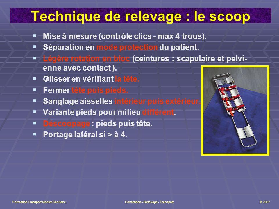 Technique de relevage : le scoop Mise à mesure (contrôle clics - max 4 trous).