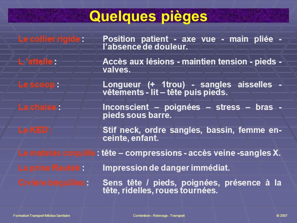 Quelques pièges Le collier rigide : Position patient - axe vue - main pliée - labsence de douleur.