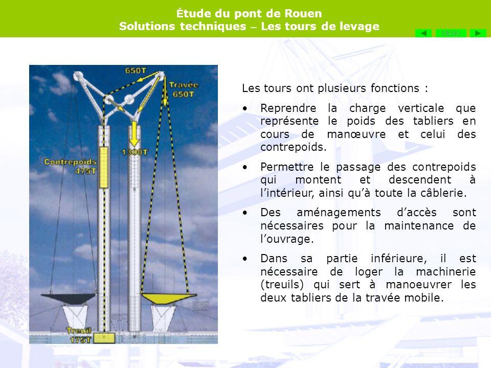 É tude du pont de Rouen Solutions techniques – Les tours de levage Les tours ont plusieurs fonctions : Reprendre la charge verticale que représente le
