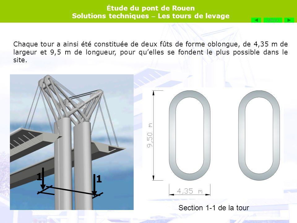 É tude du pont de Rouen Solutions techniques – Les tours de levage Chaque tour a ainsi été constituée de deux fûts de forme oblongue, de 4,35 m de lar