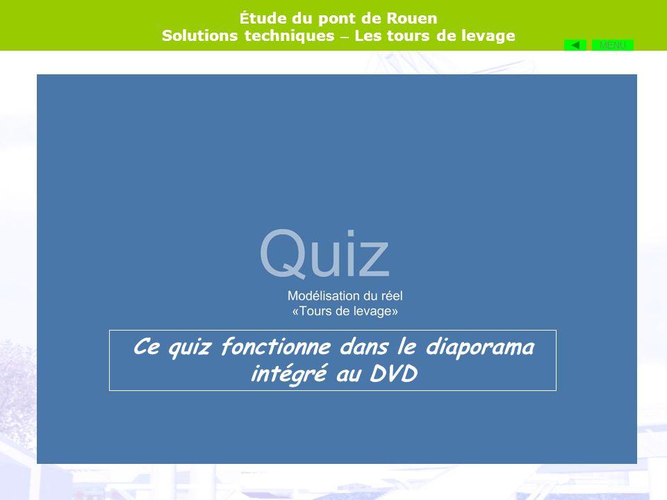 É tude du pont de Rouen Solutions techniques – Les tours de levage MENU Ce quiz fonctionne dans le diaporama intégré au DVD