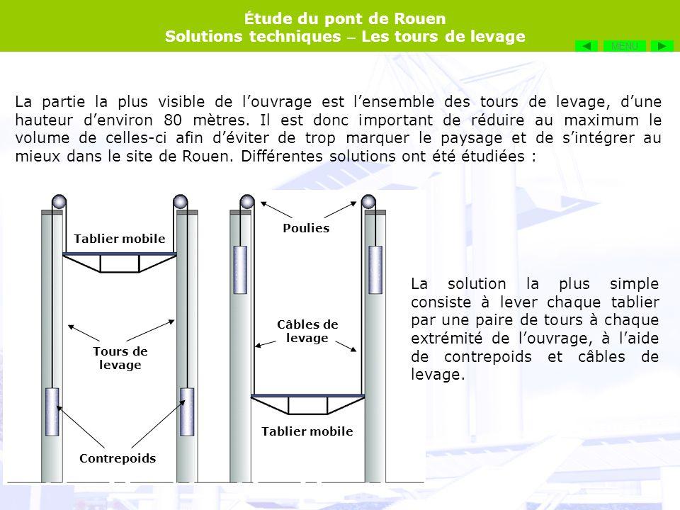 É tude du pont de Rouen Solutions techniques – Les tours de levage La partie la plus visible de louvrage est lensemble des tours de levage, dune haute
