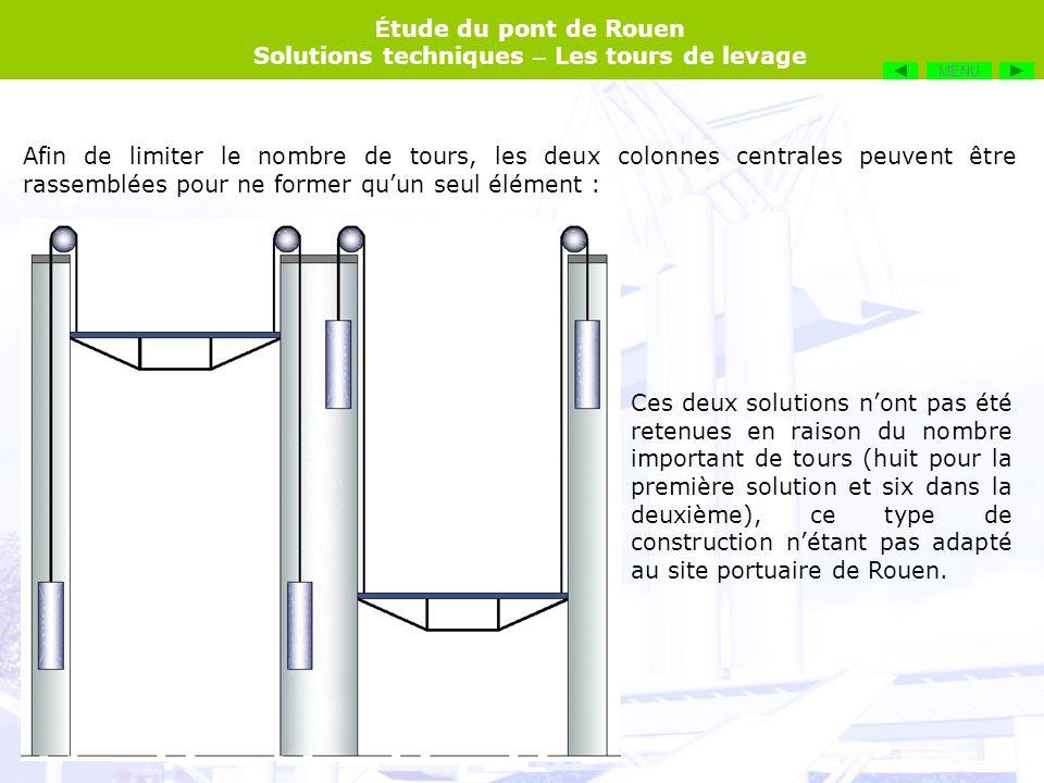 É tude du pont de Rouen Solutions techniques – Les tours de levage Afin de limiter le nombre de tours, les deux colonnes centrales peuvent être rassem