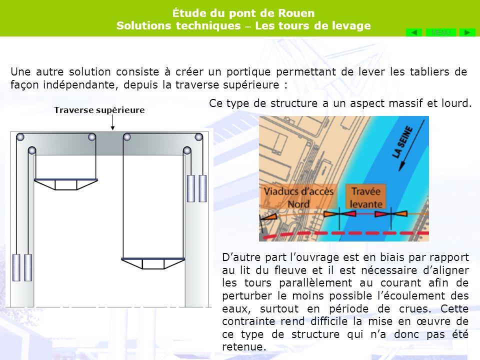 É tude du pont de Rouen Solutions techniques – Les tours de levage Une autre solution consiste à créer un portique permettant de lever les tabliers de
