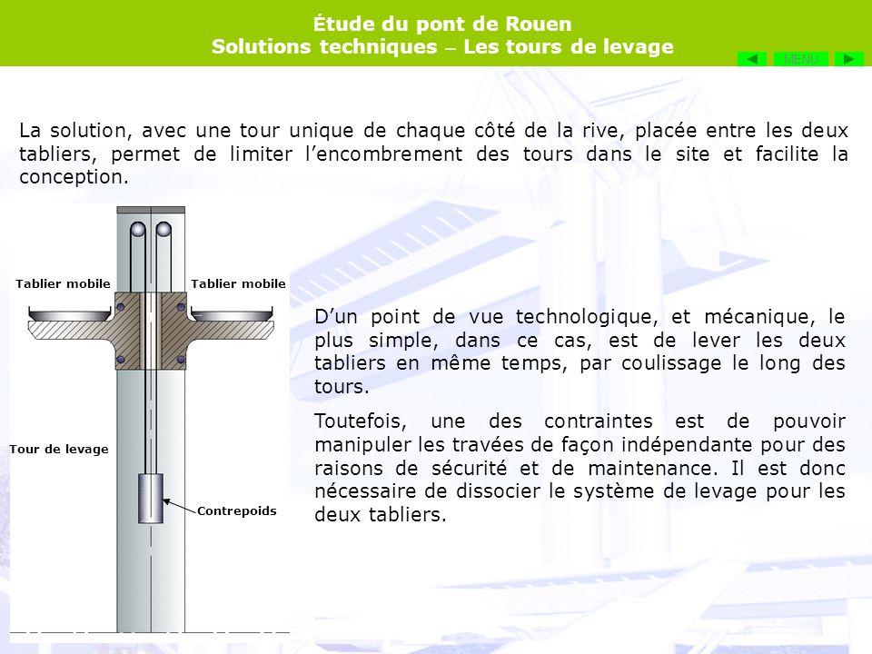 É tude du pont de Rouen Solutions techniques – Les tours de levage La solution, avec une tour unique de chaque côté de la rive, placée entre les deux