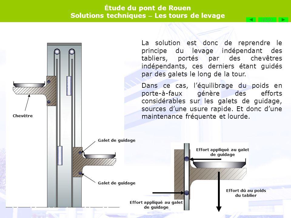 É tude du pont de Rouen Solutions techniques – Les tours de levage La solution est donc de reprendre le principe du levage indépendant des tabliers, p