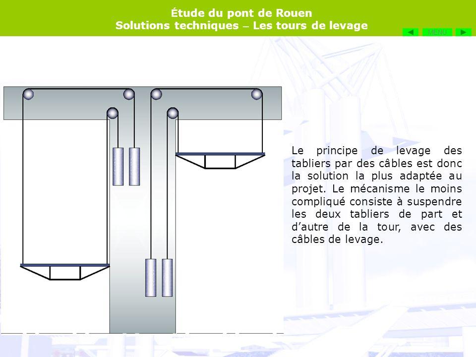 É tude du pont de Rouen Solutions techniques – Les tours de levage Le principe de levage des tabliers par des câbles est donc la solution la plus adap