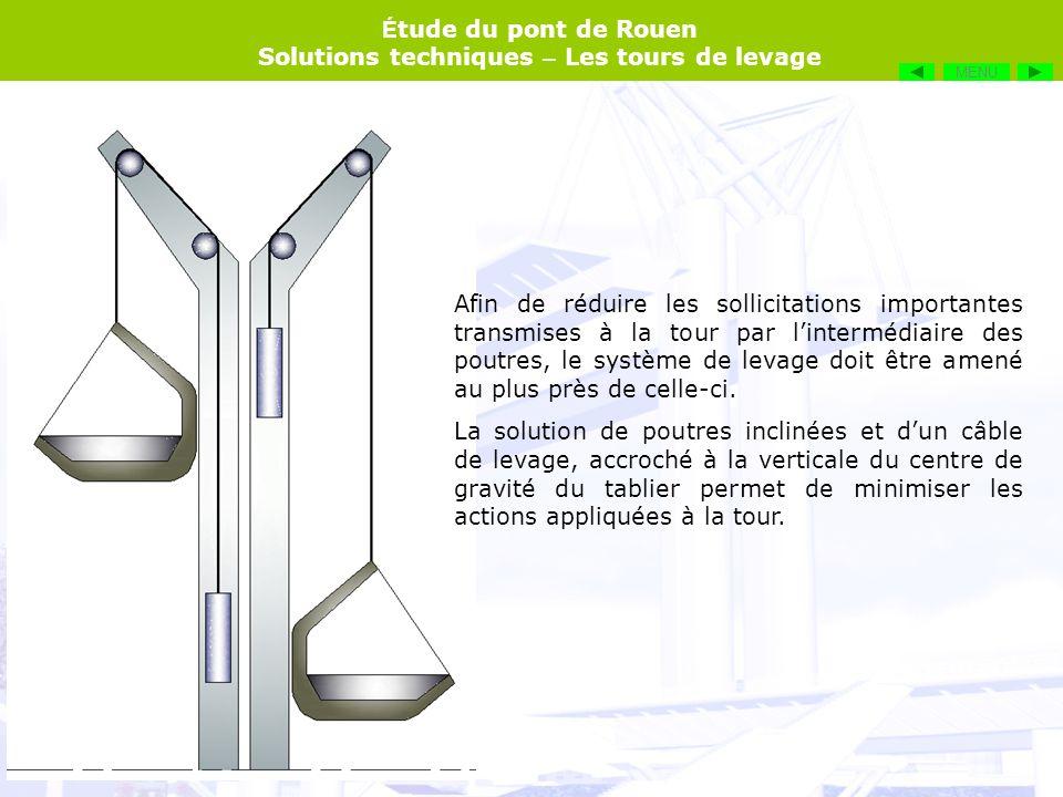 É tude du pont de Rouen Solutions techniques – Les tours de levage Afin de réduire les sollicitations importantes transmises à la tour par lintermédia