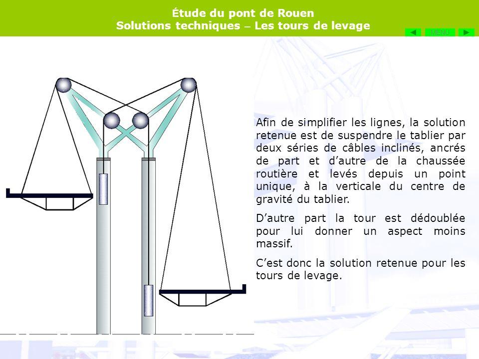 É tude du pont de Rouen Solutions techniques – Les tours de levage Afin de simplifier les lignes, la solution retenue est de suspendre le tablier par