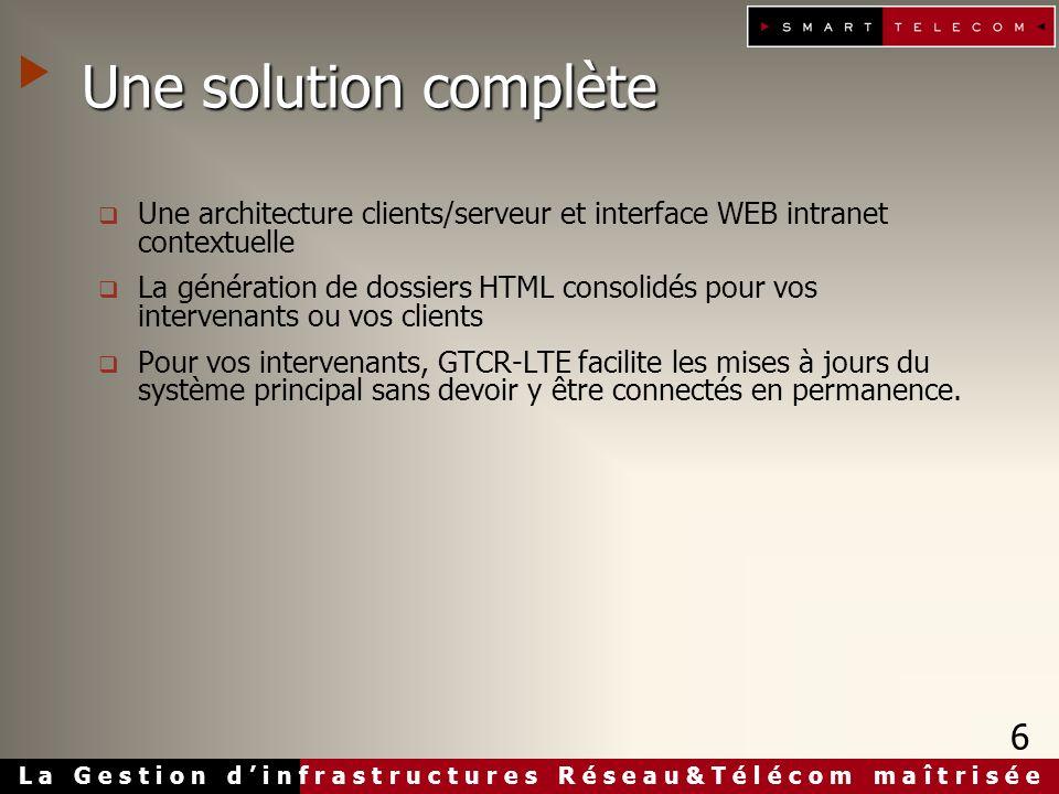 L a G e s t i o n d i n f r a s t r u c t u r e s R é s e a u & T é l é c o m m a î t r i s é e Une solution complète Une architecture clients/serveur