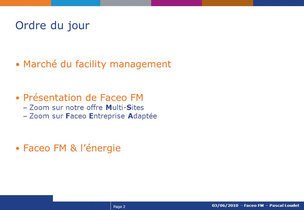 Page 3 03/06/2010 - Faceo FM – Pascal Loudet Marché du facility management en France