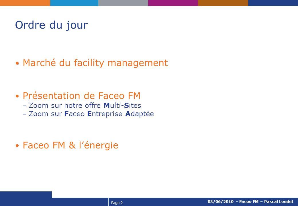 Page 2 03/06/2010 - Faceo FM – Pascal Loudet Ordre du jour Marché du facility management Présentation de Faceo FM – Zoom sur notre offre Multi-Sites –